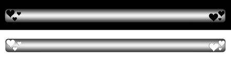 silver menu bar with hearts isolate in black and white background