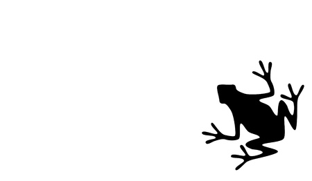 A silhouette of a black frog on white background