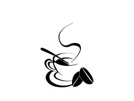 coffee cup silhouette with two coffee bean in white background