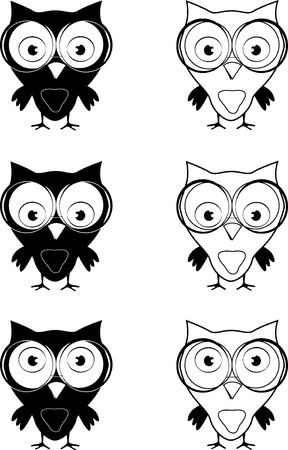 black and white owl with glasses in six different eyes positions on white background