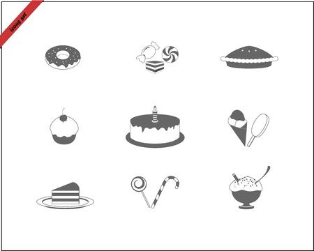 trozo de pastel: iconos web conjunto - Dulces