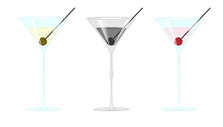 Martini glass with olives and cherry isolated on white background - vector