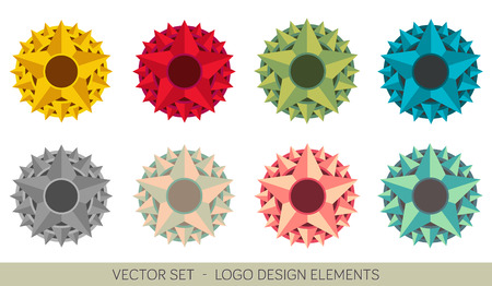 Set of colorful logo element - Stars Illustration