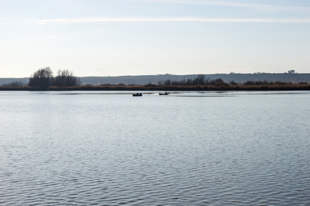 Two Boats on the Lake in the nature reserve Stock Photo
