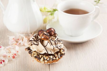 Chocolate pastry with hazelnuts  photo