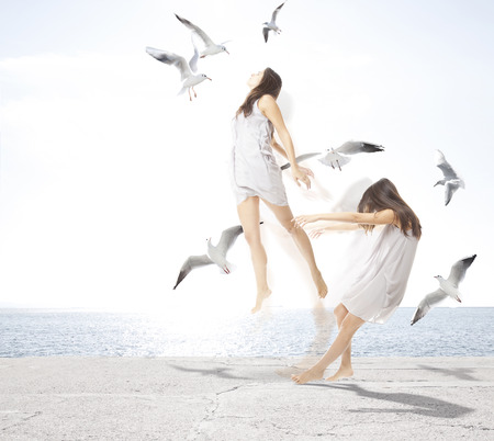 photomanipulation: Young girl with seagulls, separation of the soul concept