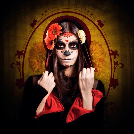 Chica joven con el maquillaje de halloween, dia de los muertos Foto de archivo