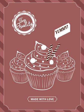 Vector elements, cupcake design  Ilustração