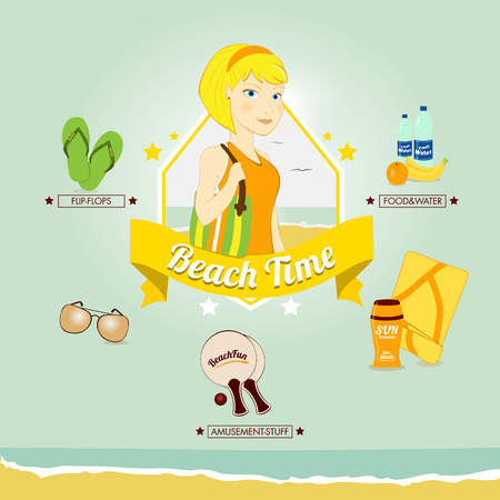 Vector illustration of a woman ready to go to the beach
