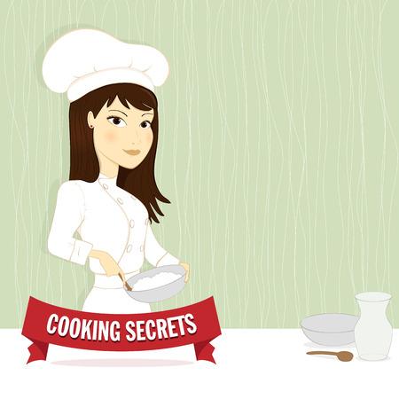 k�che: Frau mit Kochsch�rze und Kochm�tze Illustration