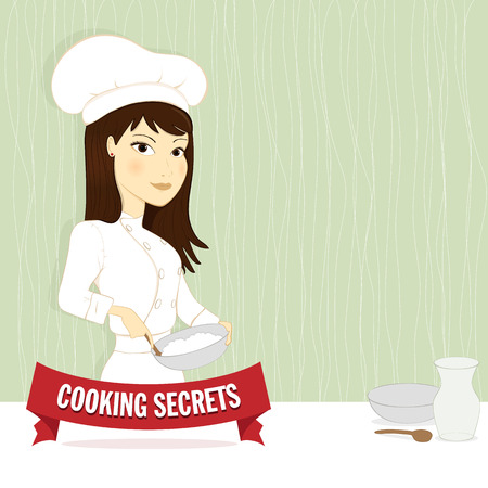 Woman with chefs apron and hat cooking Vector