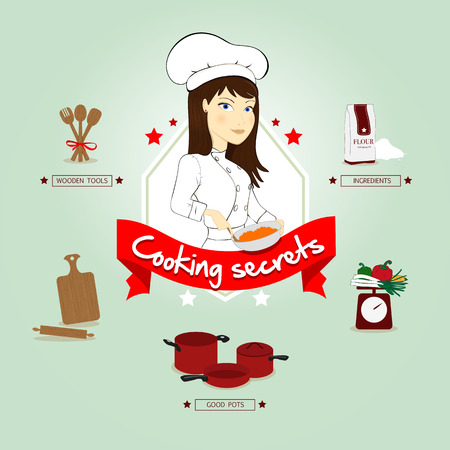 cook hats: Woman with chefs apron and hat cooking
