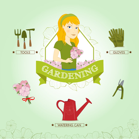 Young woman doing gardening, vector illustration
