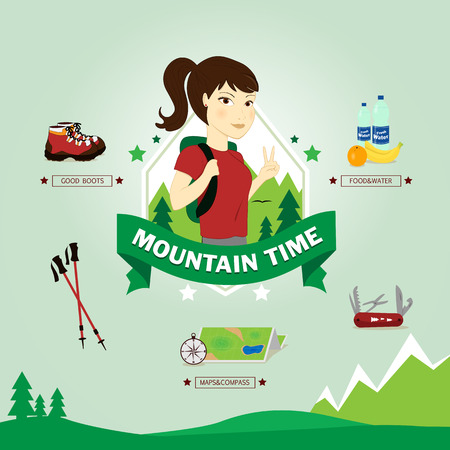 Young excursionist ready for hiking, vector illustration
