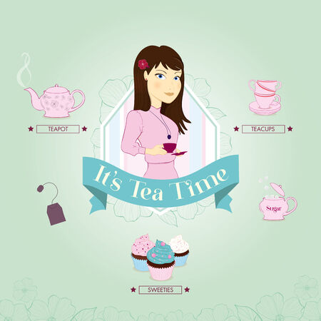 Teatime vector illustration, teacups and muffins