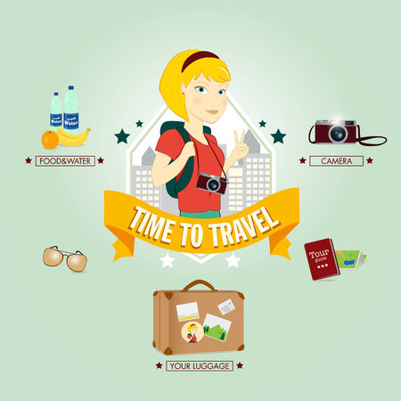 Young tourist ready to travel, illustration Vector