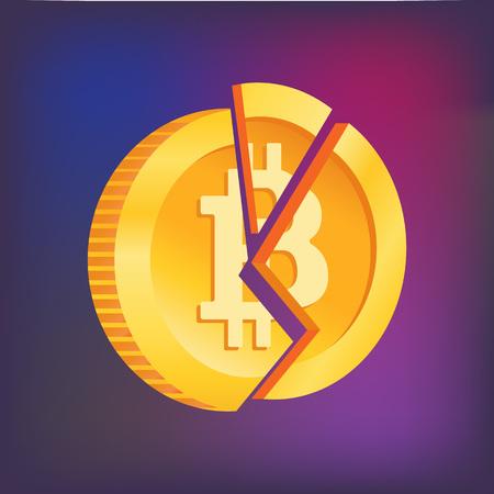 Broken bitcoin isolated. Token Crash. Blockchain crisis illustration. Crisis of the cryptocurrency. Crypto currency devaluation. Bitcoin has fallen.