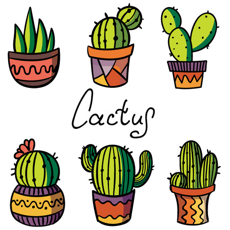 Vector set cactus and succulent plant in flower pot. Cactus icon. Stickers. Collection of exotic plants. Lettering. Hand drawn. Ilustrace