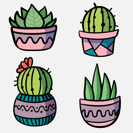 Vector set decorative natural elements. Cute cactus and succulent plant in flower pot. Collection of exotic plants.