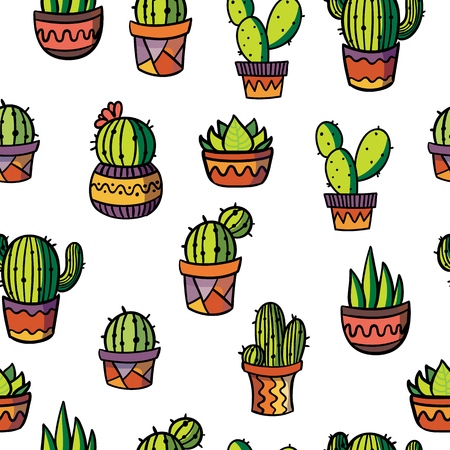 Vector cactus and succulent plant in flower pot pattern. Cactus icon. Stickers. Collection of exotic plants. Hand drawn. Ilustrace