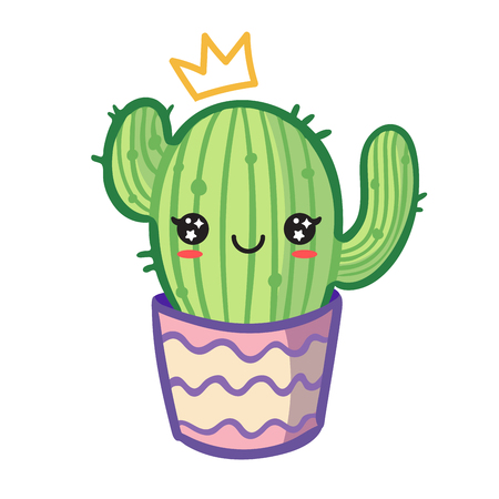 Vector kawaii cactus in flower pot with crown and whith happy face.
