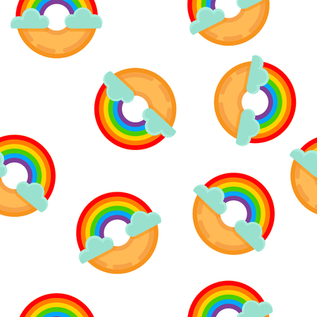 Cute rainbow donut with clouds flat seamless pattern. Vector illustration.