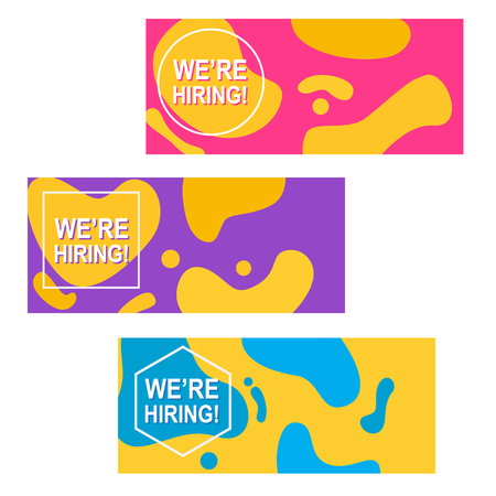 Recruitment poster template. We are hiring banners set. Business hiring and recruiting template. Vector illustration.