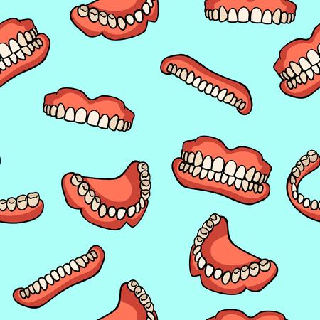 Zahnersatzmuster auf blauem Hintergrund. Zahnimplantat. Zahnersatz. Medizinsymbol für den Druck. Medizinische Artikel. Nahtloses Muster.