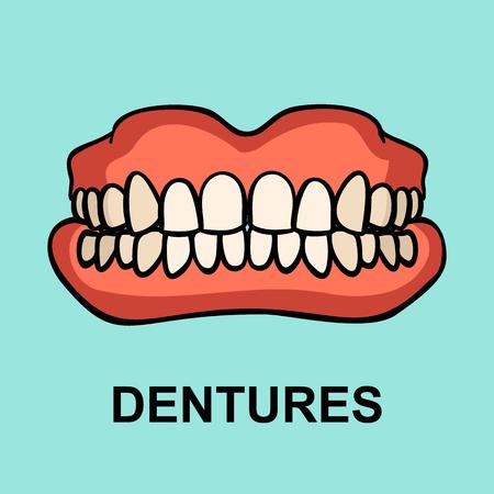 Dental prosthesis, tooth orthopedics sign. Denture icon on blue background. Dental implant. Dentures. Medicine symbol for websites, info graphics and print. Vector illustration. Standard-Bild - 122387297