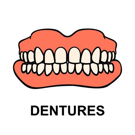 Dental prosthesis, tooth orthopedics sign. Denture icon. Dental implant. Medicine symbol for websites, info graphics and print. Vector illustration. Standard-Bild - 122387567