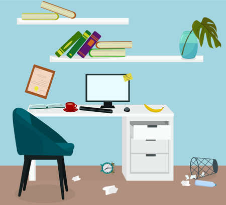clutter in the workplace, the concept of freelancing and procrastination. Deadline