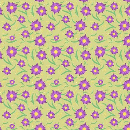 pattern with violet flowers, spring illustration