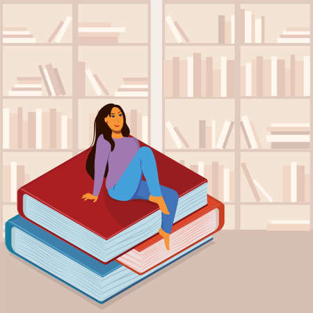 a young brunette sits on books, one leg dangling against the background of bookshelves in a library or bookstore. The concept of education and the love of reading
