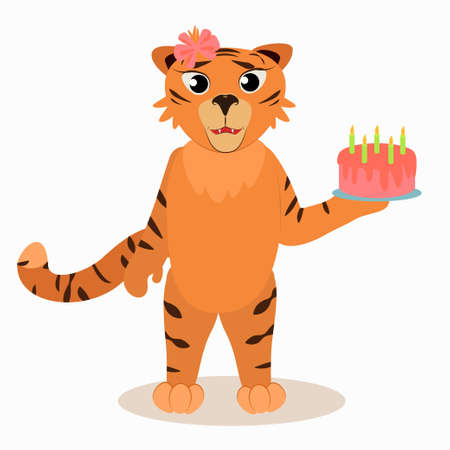 tiger girl with a birthday cake with candles in her hand. An illustration for a children's holiday, a birthday greeting. The symbol of 2022