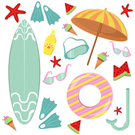 vector illustration on the theme of summer, beach and recreation. Set of images on a white background, isolated