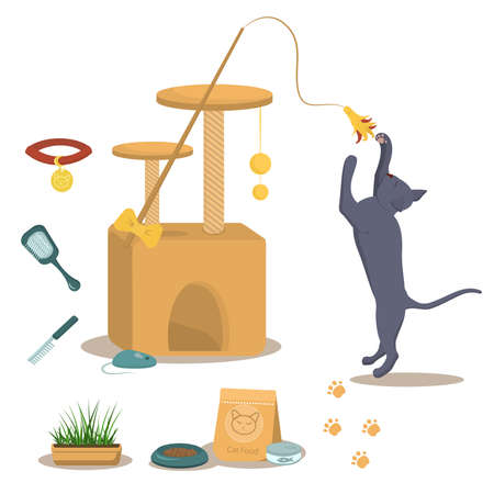 vector illustration on the theme of domestic cats. A British gray cat in a jump along with a cat house, food and toys for the cats that live in the house. Иллюстрация