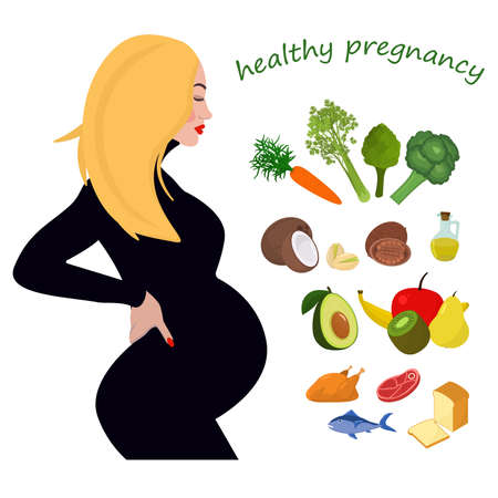 vector illustration on the topic of healthy nutrition during pregnancy. A pregnant young blonde woman and an illustration of healthy foods rich in vitamins and trace elements