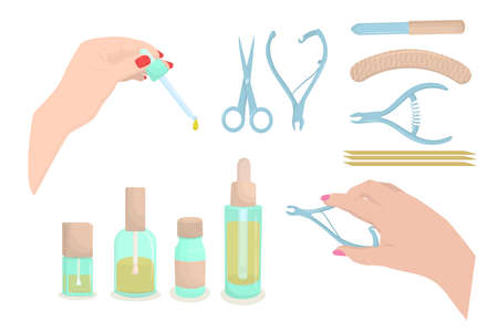 vector illustration on the theme of manicure tools, isolated on a white background Vetores
