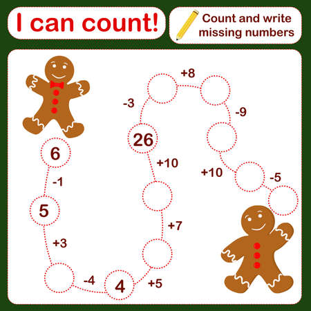 vector illustration of a children's math game on the topic I can count. Mathematical examples for addition and subtraction in the form of a game