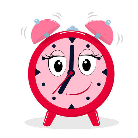 vector illustration of a smiling alarm clock in cartoon style isolated on a white background