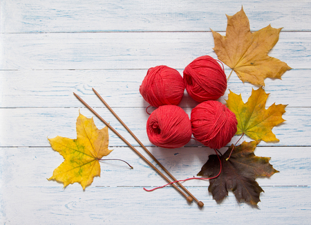 openwork: Red yarn, wooden knitting needles and yellow leaves are on white vintage wooden desk with place for your text. Stock Photo