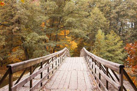 Mooie natuur en landschapsfoto van de herfstdag bij het meer, de houten brug van Nice over water, Kleurrijke bomen en bos, Kalm, vredig, blij, en gelukkig beeld