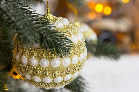 New Years interior with a Christmas tree and decorations. New Years decorations. Stock Photo