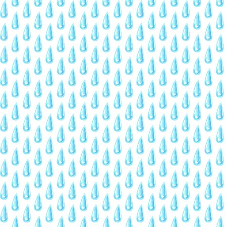 watercolor rain seamless water drop pattern illustration on white background