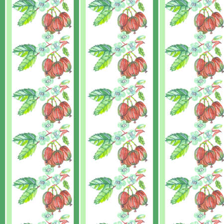 green stripes seamless pattern gooseberry on white background watercolor