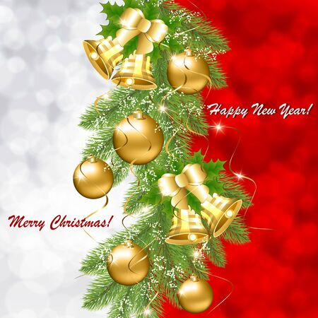 Christmas card with golden balls and bells