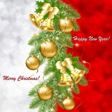 Kerstkaart met gouden ballen en klokken Stock Illustratie