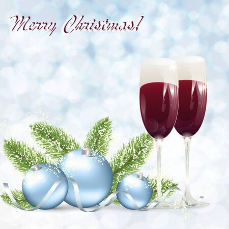 Christmas romantic background with glasses of wine