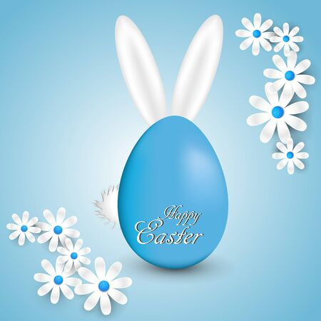 Abstract blue background with daisies Easter eggs and bunny ears