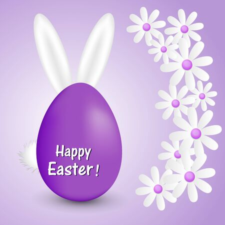 Abstract purple background with daisies Easter eggs and bunny ears Stock fotó - 73967876